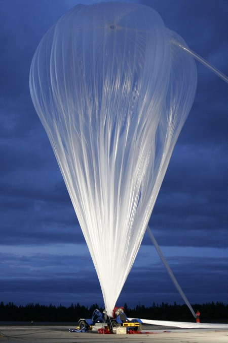 The first stratospheric balloon, to be launched from the base in Timmins, Ont., is shown during inflation on Sept. 11, 2013.  Source: Canadian Space Agency