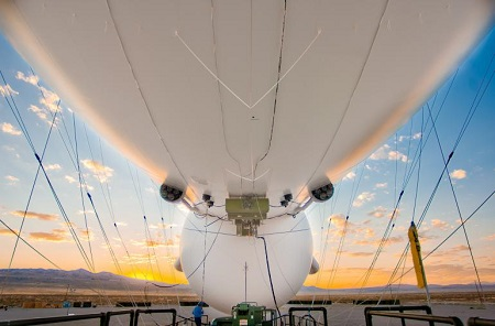 Sunset view under the belly of the JLENS aerostat.   Photo: Raytheon