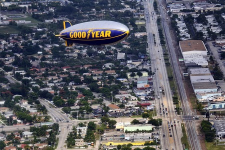 04Looking out the windows of The Spirit of Innovation, The Spirit of Goodyear flies over Pompano Beach.  Photo: Mike Stocker / Sun Sentinel