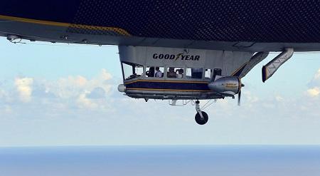 The Spirit of Goodyear flies over Pompano Beach.  Photo: Mike Stocker / Sun Sentinel