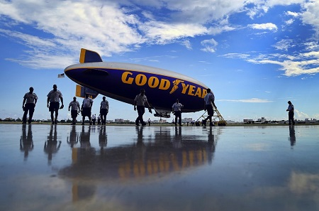 The Spirit of Goodyear flies over Pompano Beach.  Photo: Mike Stocker / Sun Sentinel