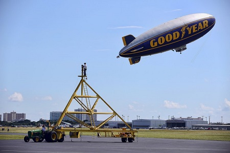 The Spirit of Goodyear takes off.  Photo: Mike Stocker / Sun Sentinel