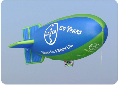 The Bayer Hot Air Airship has been flying over several cities of the US and the rest of the world. Photo: Gefa-Flug