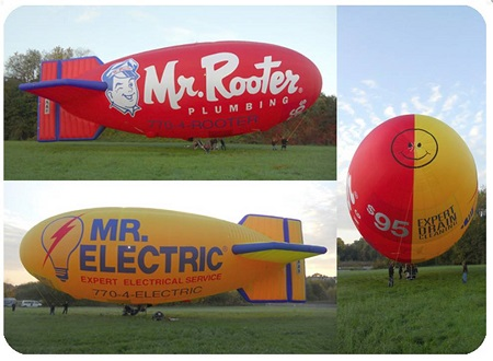 The Airship Over Atlanta airship features Mr. Rooter signage on one side and Mr. Electric signage on the other. Photo: Airship over Atlanta