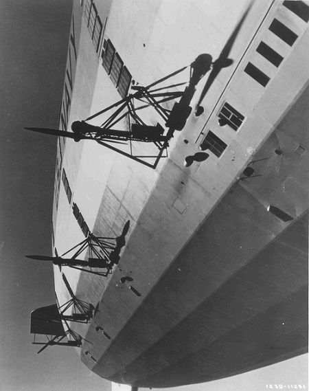 USS Akron – Condensers located above the propellers.  Photo: The Lighter-Than-Air Society collection