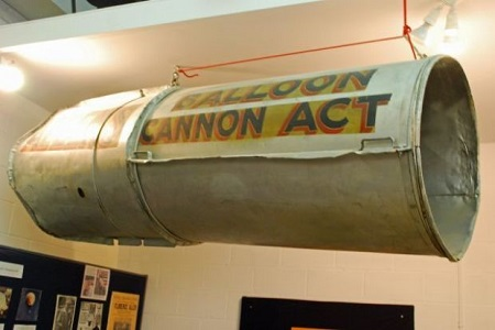 """One display in the National Balloon Museum is a cylinder that was part of the """"Balloon Cannon Act"""" and featured Florence Allen inside the cannon suspended under a balloon. Florence would then be """"shot"""" out of the cannon and parachute safely back to earth. Photo: Terry Turner"""