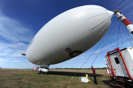 The Navy's MZ-3A manned airship is readied for for an orientation flight from Patuxent River, Md.  U.S. Navy photo by John F. Williams