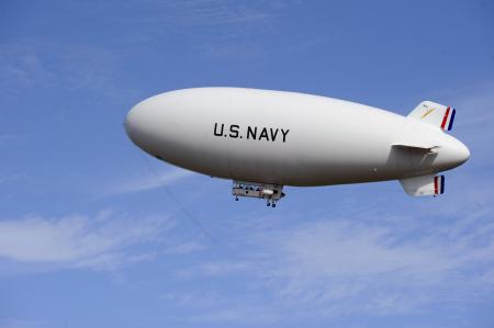 The Navy's MZ-3A manned airship conducts an orientation flight from Patuxent River, Md.  U.S. Navy photo by John F. Williams