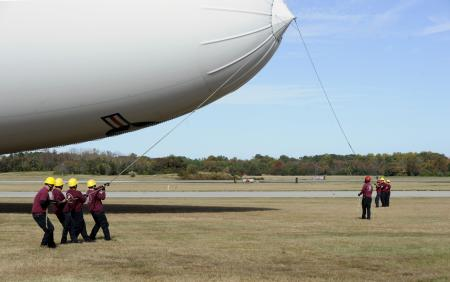 Handlers prepare to launch the Navy's MZ-3A manned airship for an orientation flight from Patuxent River, Md.  U.S. Navy photo by John F. Williams