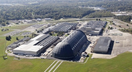 A view of the Lockheed Martin Corp. Akron operations at the former Goodyear Airdock. The company has drafted contingency business plans that include closing its Akron facility and moving its hundreds of jobs elsewhere. Photo: Mike Cardew - Akron Beacon Journal
