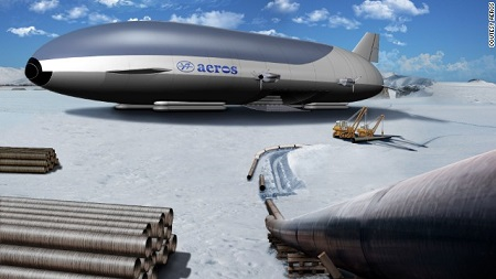 Artist's impression of an Arctic airship by Aeros. Image: Aeros Corp. by CNN