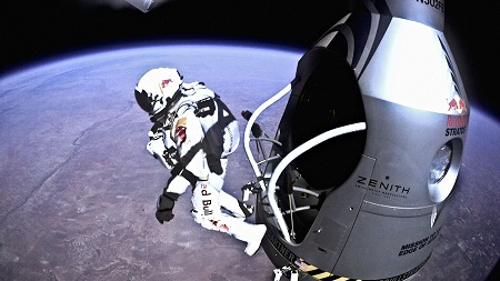 Felix Baumgartner jumps out of the capsule at 127,852 feet. Photo: National Museum of the U. S. Air Force/Red Bull Stratos