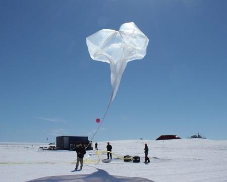 Launch of a BARREL balloon at Halley Research Station on Jan. 30, 2014.  Image Credit: NASA/BARREL/David Millin