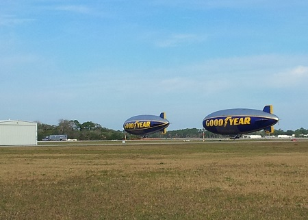 The Spirit of Goodyear - N3A (left) and the Spirit of Innovation - N2A (right) are moored at the New Smyrna Beach Municipal Airport, Photo: Richard G Van Treuren