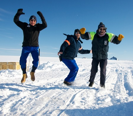Members of the BARREL team in Antarctica jump up and down in what they call the Low Wind Dance as they hope for the low wind conditions needed to launch another balloon. Image Credit:  NASA/BARREL/Brett Anderson