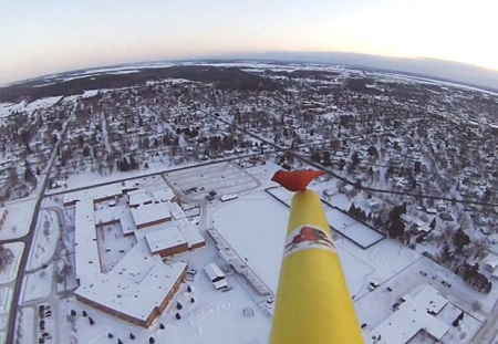 A bird's-eye view of Chippewa Falls High School is taken seconds after launch from the faculty parking lot Friday morning, just after sunrise.