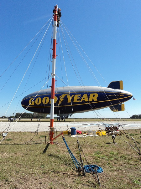 The Spirit of Goodyear at the New Smyrna Beach Municipal Airport. In the foreground a mooring mast is prepared for the Spirit of Innovation. Photo: Richard G Van Treuren