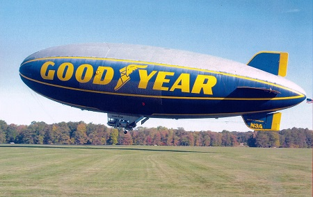 On October  11, 2013 the Spirit of Goodyear takes off from Wingfoot Lake for the last time. Photo: Eric Brothers