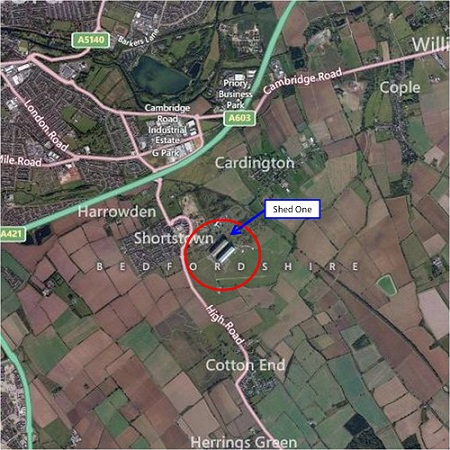 Location of the Cardington Shed 1. Source: Bing.com/maps/