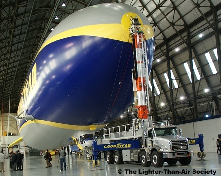 The new, and  yet to be named, Goodyear blimp secured to its mobile mooring mast.