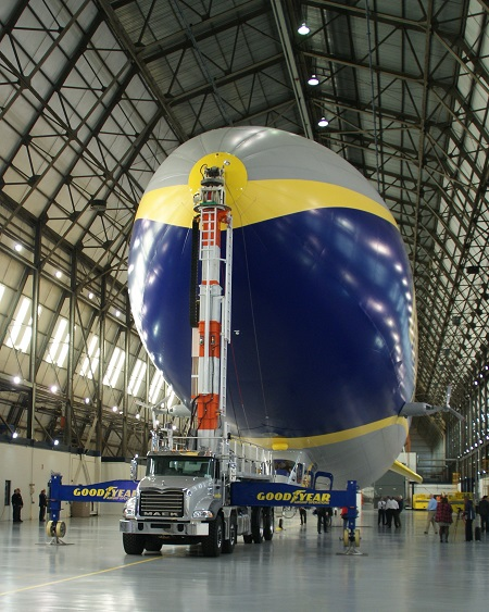 Front view of the airship inside Goodyear's Wingfoot Lake hangar.