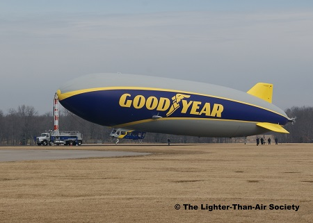 The new Goodyear Blimp-NT is moored at its truck-mounted mast. Photo: The Lighter-Than-Air Society