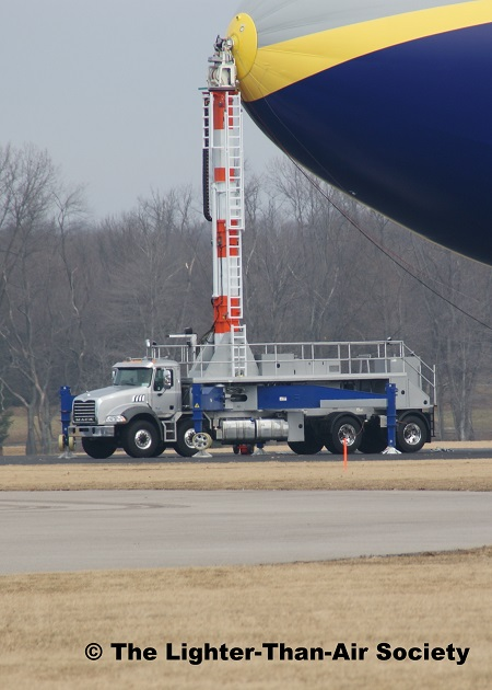 The truck-mounted mooring mast which will be used with the new airships. Photo: The Lighter-Than-Air Society