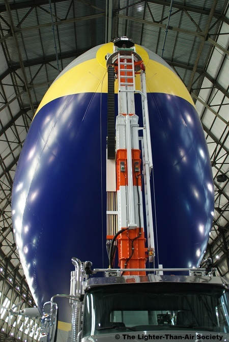 The airship's nose cone is securely attached to the mast.