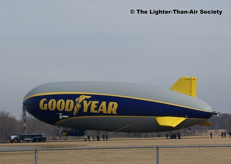 Port view of the new Goodyear airship as it swings around the mooring mast. Photo: The Lighter-Than-Air Society