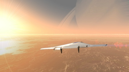 Artist's concept of an inflatable airship cruising through the skies of Saturn's huge moon Titan. Aerospace firms Northrop Grumman and L'Garde have been developing a Venus-specific version of this vehicle called VAMP (short for Venus Atmospheric Maneuverable Platform). Credit: Northrop-Grumman