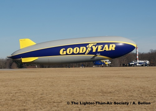 The new Goodyear Blimp is moored to the mast truck at Wingfoot Lake prior to the flight. Photo: A. Bellon - LTAS