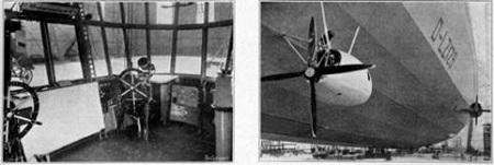 The Hindenburg's bridge (left) and engine gondola (right).