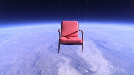 "JP Aerospace makes money in part by launching props for commercials. A Toshiba TV spot used this image (search YouTube for ""Space Chair""). Photo: JP Aerospace."