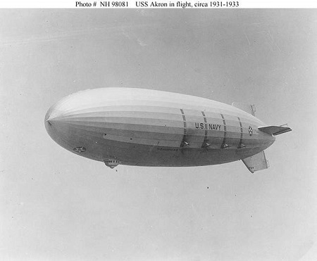 The rigid airship U.S.S. Akron in flight in this U.S. Navy photo taken sometime between 1931 and 1933. Photo: US Naval Historical Center.