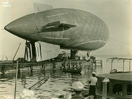 View of the DN-1, the Navy's first airship, at Naval Aeronautic Station Pensacola on November 7, 1917. Image: Courtesy of National Naval Aviation Museum