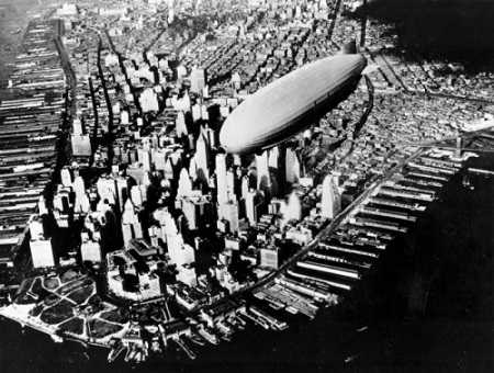 The USS Navy Air Cruiser Akron flies over lower Manhattan's financial district in New York City in this Nov. 2. 1931 photo. The Akron went down in a violent storm off the New Jersey coast. The disaster claimed 73 lives, more than twice as many as the crash of the Hindenburg, four years later. The USS Akron, a 785-foot dirigible, was in its third year of flight when a violent storm sent it crashing tail-first into the Atlantic Ocean shortly after midnight on April 4, 1933.  Photo: AP