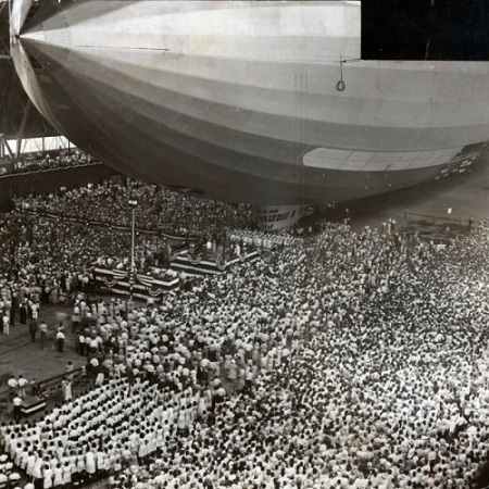 Thousands of people attend the christening of the Navy airship the USS Akron at the Goodyear-Zeppelin Corp. Airdock on August 8, 1931. Photo: Akron Beacon Journal