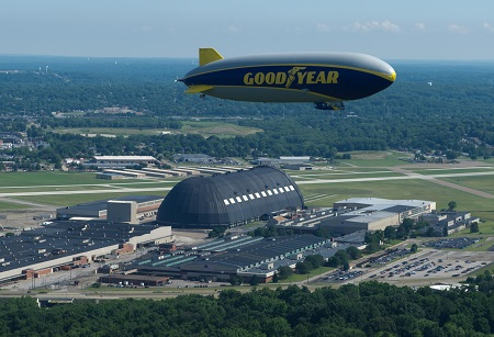 Wingfoot One over the Akron Airdock. Photo: Goodyear