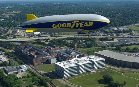 Wingfoot One over Goodyear headquarters in Akron. Photo: Goodyear