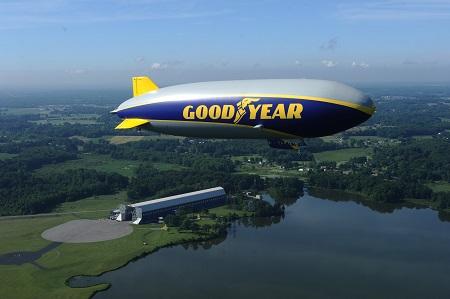 Wingfoot One over the Wingfoot Lake hangar. Photo: Goodyear