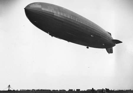 The German dirigible Hindenburg, just before it crashed before landing at the U.S. Naval Station in Lakehurst, New Jersey, on May 6, 1937.  Photo: Courtesy AP