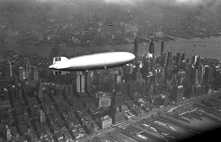 The German zeppelin Hindenburg flies over Manhattan on May 6, 1937. A few hours later, the ship burst into flames in an attempt to land at Lakehurst, New Jersey. Photo: Courtesy AP