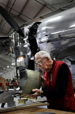 Russ Magnuson of Southington, is fabricating the sheet metal pieces that will be the new engine cowlings on the Goodyear ZNPK-28 Blimp Control Car.