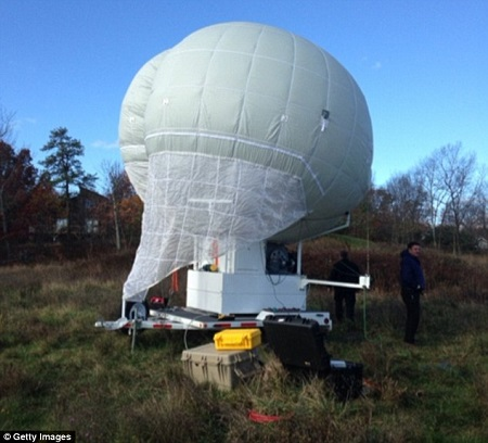 Pennsylvania State Police are using this $180,000 'blimp in a box' to track down Eric Frein, who has been on the run in dense woodland in the Pocono Mountains for nearly seven weeks. Photo courtesy of the The Daily Mail