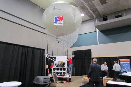 The Ohio Department of Rehabilitation and Corrections tests a tethered balloon equipped with a sensors attached over the Lebanon and Warren Correctional Institutions. Photo courtesy of Tristan Navera - Dayton Business Journal