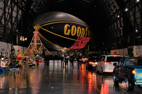 Toys for Tots collection at The Goodyear Tire & Rubber Company's blimp hangar in Suffield Ohio. Photo courtesy of Goodyear Tire & Rubber Co.