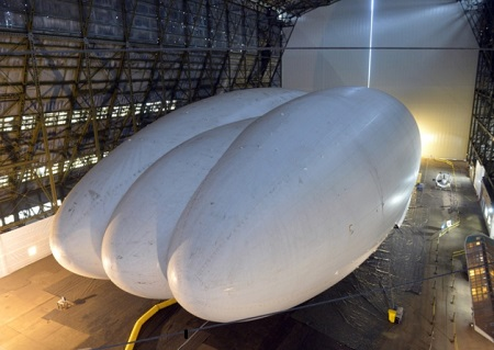 The Airlander in the Cardington Hangar, Image courtesy of Hybrid Air Vehicles