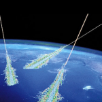 An artist's depiction of a cosmic ray air shower