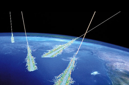An artist's depiction of a cosmic ray air shower.  Credit: Simon Swordy (U. Chicago), NASA.