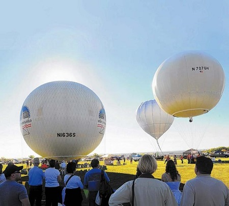 Balloons participating in the 2013 America's Challenge get ready to launch. Photo: Adolphe Pierre-Louis -  Albuquerque Journal